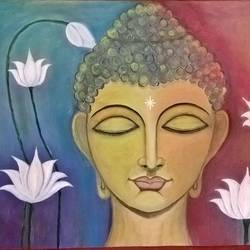 peace, 24 x 18 inch, veena amarnath,buddha paintings,paintings for living room,paintings for office,paintings for hotel,paintings for hospital,paintings for living room,paintings for office,paintings for hotel,paintings for hospital,canvas,oil,24x18inch,religious,peace,meditation,meditating,gautam,goutam,buddha,lotus,brown,GAL0572613698