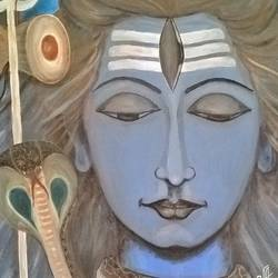 shiva - the supreme, 18 x 24 inch, veena amarnath,religious paintings,paintings for living room,lord shiva paintings,canvas,oil,18x24inch,GAL0572613699