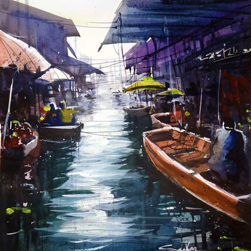 thailand floating market, 21 x 14 inch, sankar thakur,landscape paintings,paintings for living room,fabriano sheet,watercolor,21x14inch,GAL07137