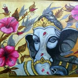ganesha with floral background, 16 x 12 inch, aboli moroney,ganesha paintings,paintings for living room,canvas,oil,16x12inch,GAL05561370,vinayak,ekadanta,ganpati,lambodar,peace,devotion,religious,lord ganesha,lordganpati