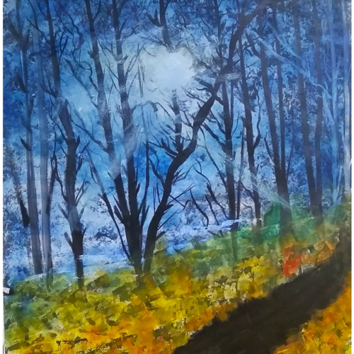 beautiful forest trail on a moon night, 18 x 24 inch, nidhi wadhwa,landscape paintings,nature paintings,paintings for dining room,paintings for living room,paintings for bedroom,paintings for office,paintings for hotel,paintings for dining room,paintings for living room,paintings for bedroom,paintings for office,paintings for hotel,canson paper,acrylic color,18x24inch,GAL0568713701Nature,environment,Beauty,scenery,greenery