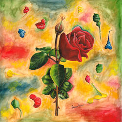 dark rose, 23 x 22 inch, samit kumar,paintings,flower paintings,paintings for living room,paintings for office,paintings for hotel,handmade paper,watercolor,23x22inch,GAL0443413702