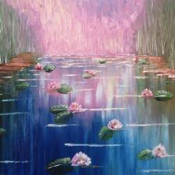 lake of lilies, 34 x 16 inch, dipali deshpande,paintings,flower paintings,landscape paintings,nature paintings,art deco paintings,impressionist paintings,realism paintings,contemporary paintings,paintings for dining room,paintings for living room,paintings for bedroom,paintings for office,paintings for bathroom,paintings for kids room,paintings for hotel,paintings for kitchen,paintings for school,paintings for hospital,canvas,oil,34x16inch,GAL016313704Nature,environment,Beauty,scenery,greenery