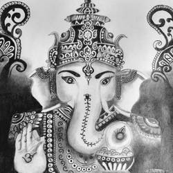 sketching of ganesha, 11 x 17 inch, arjun v nair,realism drawings,paintings for living room,thick paper,graphite pencil,11x17inch,GAL0560413707