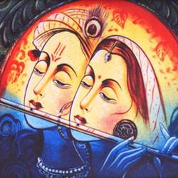 radha krishna, 12 x 18 inch, diksha anand,religious paintings,radha krishna paintings,paintings for living room,paintings for bedroom,paintings for office,paintings for hotel,paintings for school,paintings for hospital,thick paper,mixed media,12x18inch,GAL030413719
