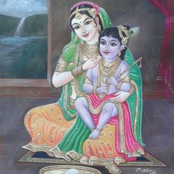 yasodha  child krishna, 22 x 29 inch, sujitha artgallery,paintings,mother teresa paintings,paintings for dining room,paintings for dining room,thick paper,poster color,22x29inch,GAL049613725