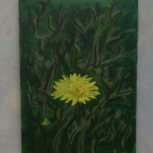 yellow flower , 10 x 13 inch, akshaya saravanan,paintings,abstract paintings,nature paintings,canvas,acrylic color,oil,10x13inch,GAL0479013751Nature,environment,Beauty,scenery,greenery