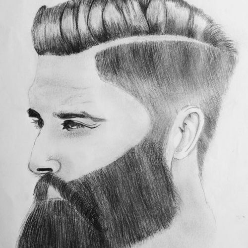 beard man, 11 x 17 inch, arjun v nair,portrait drawings,paintings for living room,thick paper,graphite pencil,11x17inch,GAL0560413752