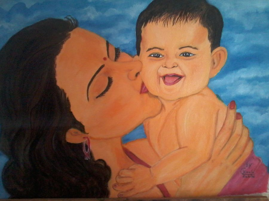 feeling of moms love, 18 x 16 inch, vimala  renjith,landscape paintings,paintings for living room,canvas,acrylic color,18x16inch,GAL05611376