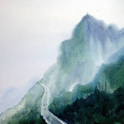 beauty of himalaya, 22 x 12 inch, samiran sarkar,paintings,landscape paintings,nature paintings,art deco paintings,realism paintings,paintings for dining room,paintings for living room,paintings for office,paintings for hotel,paintings for hospital,thick paper,watercolor,22x12inch,GAL0574913760Nature,environment,Beauty,scenery,greenery