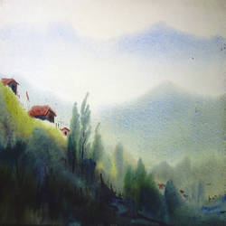 beauty of himalaya landscape, 22 x 11 inch, samiran sarkar,paintings,landscape paintings,nature paintings,contemporary paintings,realistic paintings,paintings for dining room,paintings for living room,paintings for bedroom,paintings for office,paintings for hotel,paintings for kitchen,paintings for hospital,thick paper,watercolor,22x11inch,GAL0574913761Nature,environment,Beauty,scenery,greenery