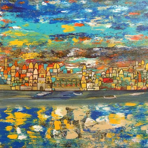varanasi -1 , the conversation between shiva and shakti , 30 x 36 inch, nishant mishra,abstract paintings,figurative paintings,cityscape paintings,modern art paintings,conceptual paintings,abstract expressionist paintings,contemporary paintings,paintings for dining room,paintings for living room,paintings for bedroom,paintings for office,paintings for hotel,paintings for school,paintings for hospital,canvas,acrylic color,30x36inch,GAL0538613762