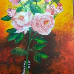 roses, 12 x 16 inch, anuradha bansal,paintings,flower paintings,paintings for dining room,paintings for living room,paintings for bedroom,paintings for office,paintings for kitchen,thick paper,acrylic color,12x16inch,GAL0572113764
