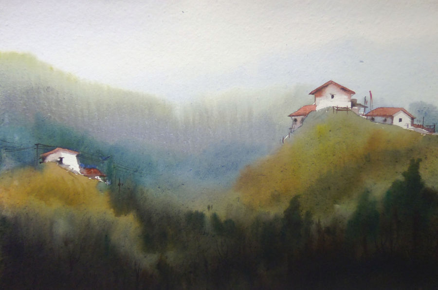 misty himalaya village, 22 x 11 inch, samiran sarkar,paintings,landscape paintings,nature paintings,impressionist paintings,realistic paintings,paintings for dining room,paintings for living room,paintings for office,paintings for hotel,paintings for school,paintings for hospital,thick paper,watercolor,22x11inch,GAL0574913765Nature,environment,Beauty,scenery,greenery