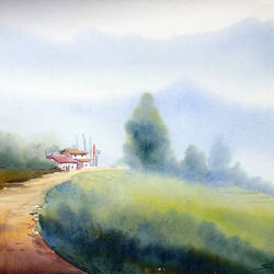 long himalayan path with mountain , 22 x 11 inch, samiran sarkar,landscape paintings,nature paintings,contemporary paintings,realistic paintings,paintings for dining room,paintings for living room,paintings for bedroom,paintings for office,paintings for hotel,paintings for hospital,thick paper,watercolor,22x11inch,GAL0574913766Nature,environment,Beauty,scenery,greenery