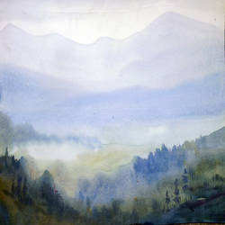 misty himalaya , 22 x 11 inch, samiran sarkar,paintings,landscape paintings,nature paintings,realism paintings,realistic paintings,paintings for dining room,paintings for living room,paintings for bedroom,paintings for office,paintings for hotel,paintings for school,paintings for hospital,thick paper,watercolor,22x11inch,GAL0574913768Nature,environment,Beauty,scenery,greenery