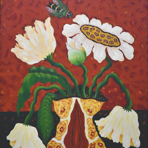 the flower vase, 30 x 36 inch, debasish sarkar,paintings,abstract paintings,contemporary paintings,paintings for dining room,paintings for living room,paintings for bedroom,paintings for office,paintings for hotel,paintings for kitchen,paintings for hospital,canvas,acrylic color,30x36inch,GAL0558113769