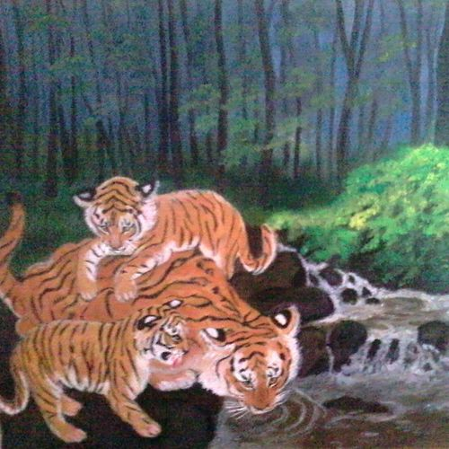 tigress with cubs, 18 x 16 inch, vimala  renjith,wildlife paintings,paintings for living room,animal paintings,canvas,acrylic color,18x16inch,GAL05611377