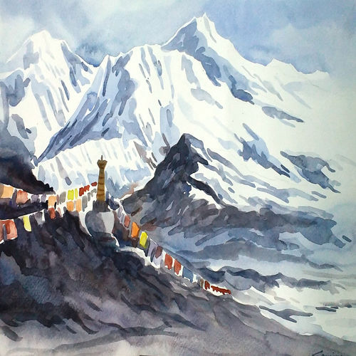 beauty of himalayn peaks, 14 x 10 inch, samiran sarkar,paintings,landscape paintings,contemporary paintings,realistic paintings,paintings for dining room,paintings for living room,paintings for bedroom,paintings for office,paintings for hotel,paintings for school,paintings for hospital,canson paper,watercolor,14x10inch,GAL0574913774