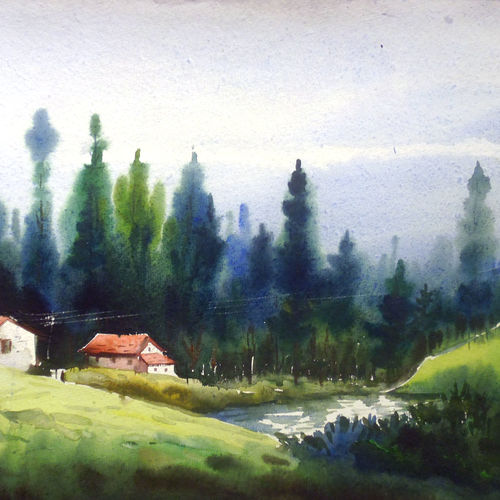beauty of himalayan forest & cottages, 22 x 11 inch, samiran sarkar,paintings,landscape paintings,realism paintings,contemporary paintings,realistic paintings,paintings for dining room,paintings for living room,paintings for bedroom,paintings for office,paintings for hotel,paintings for kitchen,paintings for school,paintings for hospital,handmade paper,watercolor,22x11inch,GAL0574913777