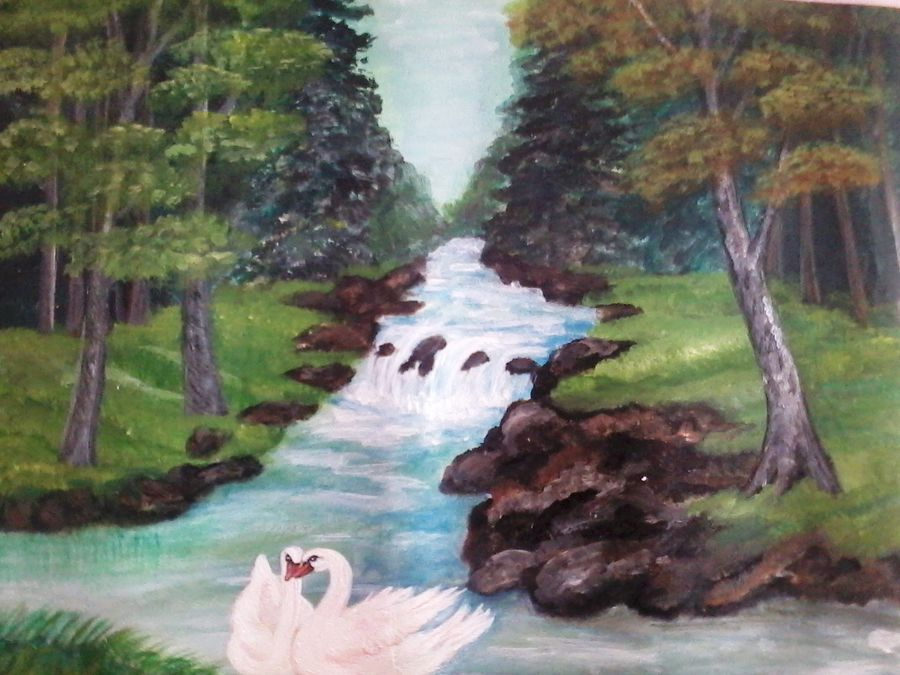 nature, 14 x 14 inch, vimala  renjith,landscape paintings,paintings for office,thick paper,acrylic color,14x14inch,GAL05611379