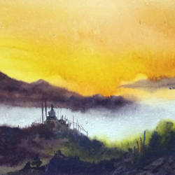 sunset himalaya landscape, 15 x 11 inch, samiran sarkar,paintings,landscape paintings,nature paintings,art deco paintings,photorealism paintings,contemporary paintings,paintings for dining room,paintings for living room,paintings for bedroom,paintings for office,paintings for bathroom,paintings for hotel,paintings for school,paintings for hospital,thick paper,watercolor,15x11inch,GAL0574913793Nature,environment,Beauty,scenery,greenery,beautiful,sun,trees,water,mountain,sunset,water,houses,fog