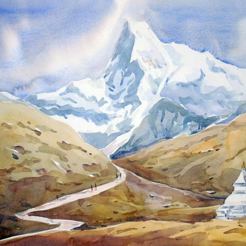 beauty of himalayn peaks, 22 x 14 inch, samiran sarkar,landscape paintings,nature paintings,art deco paintings,realism paintings,contemporary paintings,realistic paintings,paintings for dining room,paintings for living room,paintings for bedroom,paintings for office,paintings for kids room,paintings for hotel,paintings for school,thick paper,watercolor,22x14inch,GAL0574913794Nature,environment,Beauty,scenery,greenery