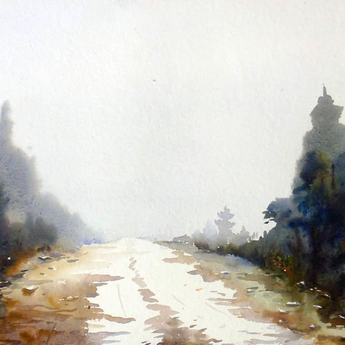 snow cover himalayan path, 22 x 11 inch, samiran sarkar,landscape paintings,nature paintings,photorealism paintings,realism paintings,contemporary paintings,paintings for dining room,paintings for living room,paintings for bedroom,paintings for office,paintings for bathroom,paintings for hotel,thick paper,watercolor,22x11inch,GAL0574913795Nature,environment,Beauty,scenery,greenery,beautiful,mountain,mist,fog,snow