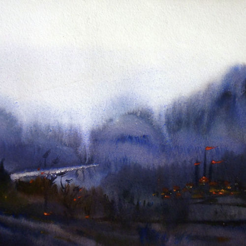 beauty of monsoon himalaya mountain, 22 x 12 inch, samiran sarkar,landscape paintings,nature paintings,art deco paintings,realism paintings,realistic paintings,paintings for dining room,paintings for living room,paintings for bedroom,paintings for office,paintings for hotel,handmade paper,watercolor,22x12inch,GAL0574913797Nature,environment,Beauty,scenery,greenery,monsoon,rainy,fog,mist,mountain