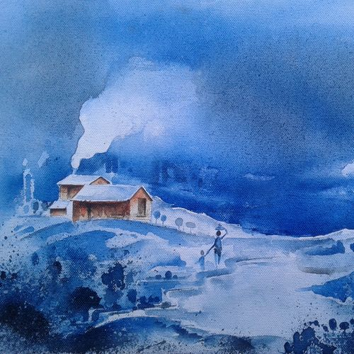 winter drizzle, 13 x 10 inch, hitesh kumar,landscape paintings,paintings for dining room,paintings for living room,paintings for bedroom,paintings for office,paintings for hotel,canvas,acrylic color,13x10inch,GAL0411513798