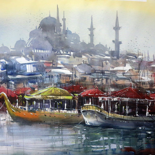 city istanbul , 36 x 24 inch, sankar thakur,cityscape paintings,paintings for living room,fabriano sheet,watercolor,36x24inch,GAL07138