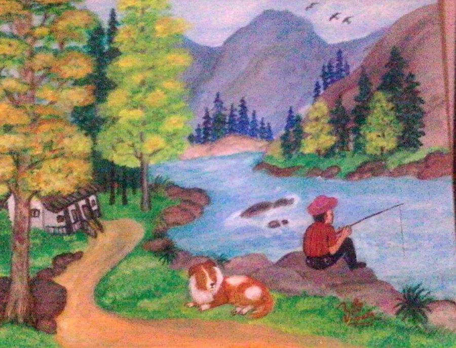 nature, 18 x 16 inch, vimala  renjith,landscape paintings,paintings for living room,thick paper,acrylic color,18x16inch,GAL05611380