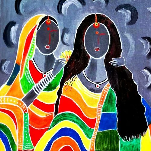 santhali women with long hair , 16 x 20 inch, shuchita srivastava,figurative paintings,paintings for living room,paintings for living room,canvas,acrylic color,16x20inch,GAL0398413801