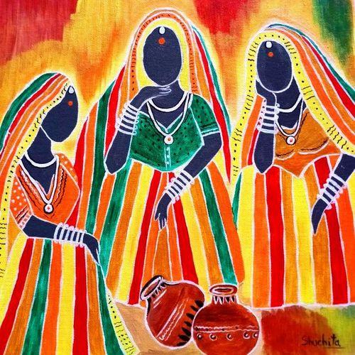 santhali women waiting for water   , 16 x 20 inch, shuchita srivastava,figurative paintings,paintings for living room,paintings for living room,canvas,acrylic color,16x20inch,GAL0398413802