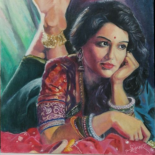 maharashtra culture- woman , 16 x 20 inch, mahesh pawar,figurative paintings,portrait paintings,photorealism paintings,photorealism,portraiture,realism paintings,surrealist paintings,realistic paintings,paintings for living room,paintings for bedroom,paintings for office,paintings for hotel,paintings for living room,paintings for bedroom,paintings for office,paintings for hotel,paintings for dining room,canvas board,oil,16x20inch,GAL0225313803