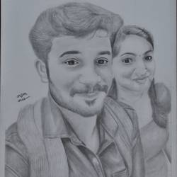 sketching of couples, 11 x 17 inch, arjun v nair,realism drawings,thick paper,graphite pencil,11x17inch,GAL0560413807