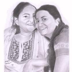 mother and daughter, 11 x 17 inch, arjun v nair,realism drawings,thick paper,graphite pencil,11x17inch,GAL0560413808