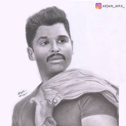 sketching of allu arjun, 11 x 17 inch, arjun v nair,realism drawings,thick paper,graphite pencil,11x17inch,GAL0560413809