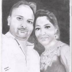 lovely couple , 11 x 17 inch, arjun v nair,realism drawings,thick paper,graphite pencil,11x17inch,GAL0560413810