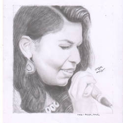 singing girl , 11 x 17 inch, arjun v nair,realism drawings,thick paper,graphite pencil,11x17inch,GAL0560413812