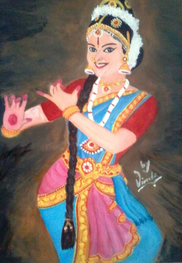 dance, 18 x 16 inch, vimala  renjith,folk art paintings,paintings for living room,thick paper,acrylic color,18x16inch,GAL05611382