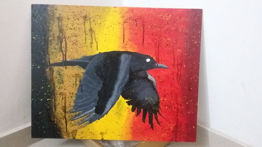 flying crow, 16 x 20 inch, christopher raymond,wildlife paintings,paintings for dining room,paintings for living room,paintings for bedroom,animal paintings,canvas,oil,16x20inch,GAL0573513820