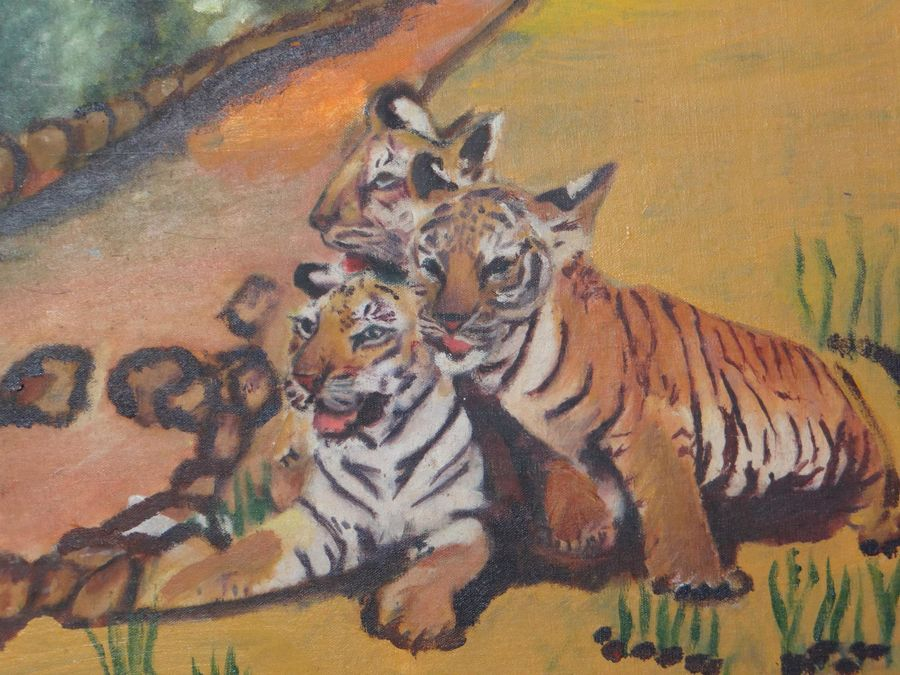 tiger cubs, 18 x 24 inch, sujeer lukose,wildlife paintings,paintings for living room,canvas,oil,18x24inch,GAL05661383