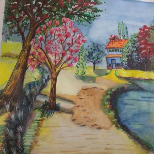 landscapes, 18 x 12 inch, upendra  padaki,paintings,landscape paintings,paintings for living room,handmade paper,watercolor,18x12inch,GAL0578413833