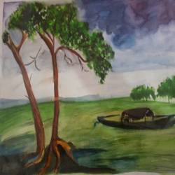 landscapes, 18 x 12 inch, upendra  padaki,paintings,landscape paintings,paintings for living room,handmade paper,watercolor,18x12inch,GAL0578413834