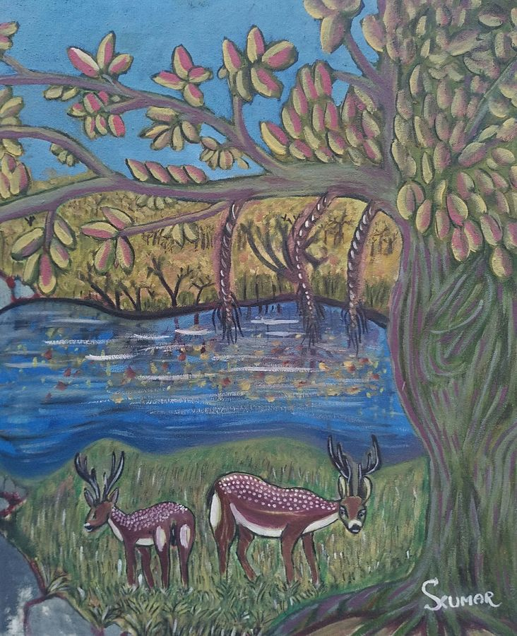nature, 24 x 24 inch, surendra kumar,paintings,wildlife paintings,landscape paintings,nature paintings,animal paintings,paintings for dining room,paintings for living room,paintings for hotel,paintings for school,canvas,oil,24x24inch,GAL0507513840Nature,environment,Beauty,scenery,greenery