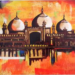 abstract badashahi mosque, 14 x 20 inch, saurabh kolhatkar,abstract paintings,canvas,acrylic color,14x20inch,GAL05681385