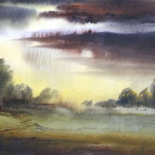 monsoon rural landscape, 19 x 14 inch, samiran sarkar,landscape paintings,nature paintings,realism paintings,contemporary paintings,realistic paintings,paintings for dining room,paintings for living room,paintings for bedroom,paintings for office,paintings for hotel,thick paper,watercolor,19x14inch,GAL0574913853Nature,environment,Beauty,scenery,greenery