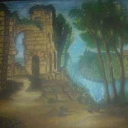 the fort, 20 x 16 inch, sujeer lukose,flower paintings,paintings for living room,canvas,oil,20x16inch,GAL05661387