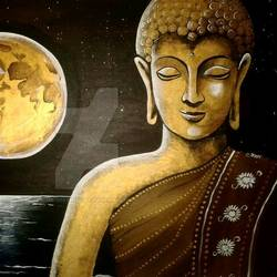devotion of buddha , 18 x 24 inch, veer  patel,buddha paintings,canvas,oil,18x24inch,religious,peace,meditation,meditating,gautam,goutam,moon,night,orange,blessing,GAL0579913872